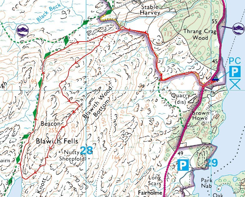 Beacon Fell Route Map