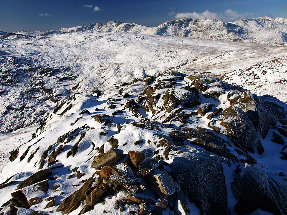 Crinkle Crags, Bowfell and Esk Pike from Sergeant Man