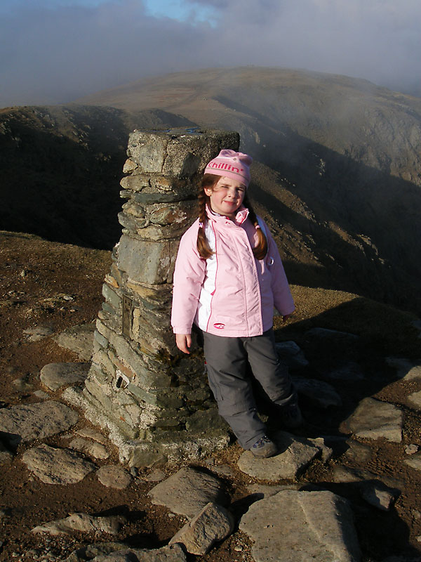 Made it! Connie, aged 5, at the summit of The Old Man of Coniston.