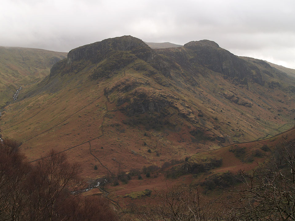 Eagle Crag and Sergeants Crag from the steep climb to Great Crag through the woods
