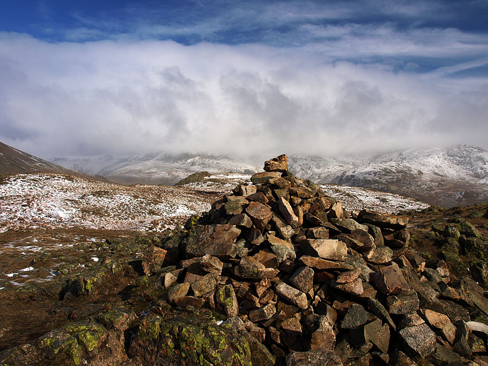 The summit of Middle Fell in winter