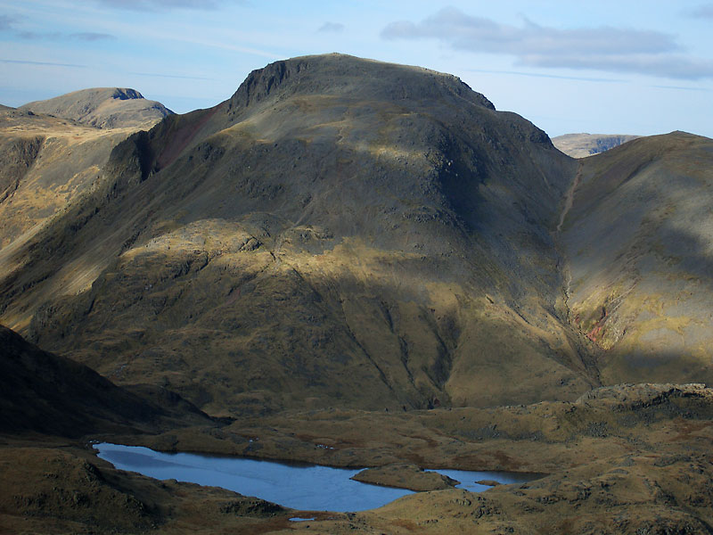 Pillar, Great Gable and Green Gable over Sprinkling Tarn from Allen Crags.