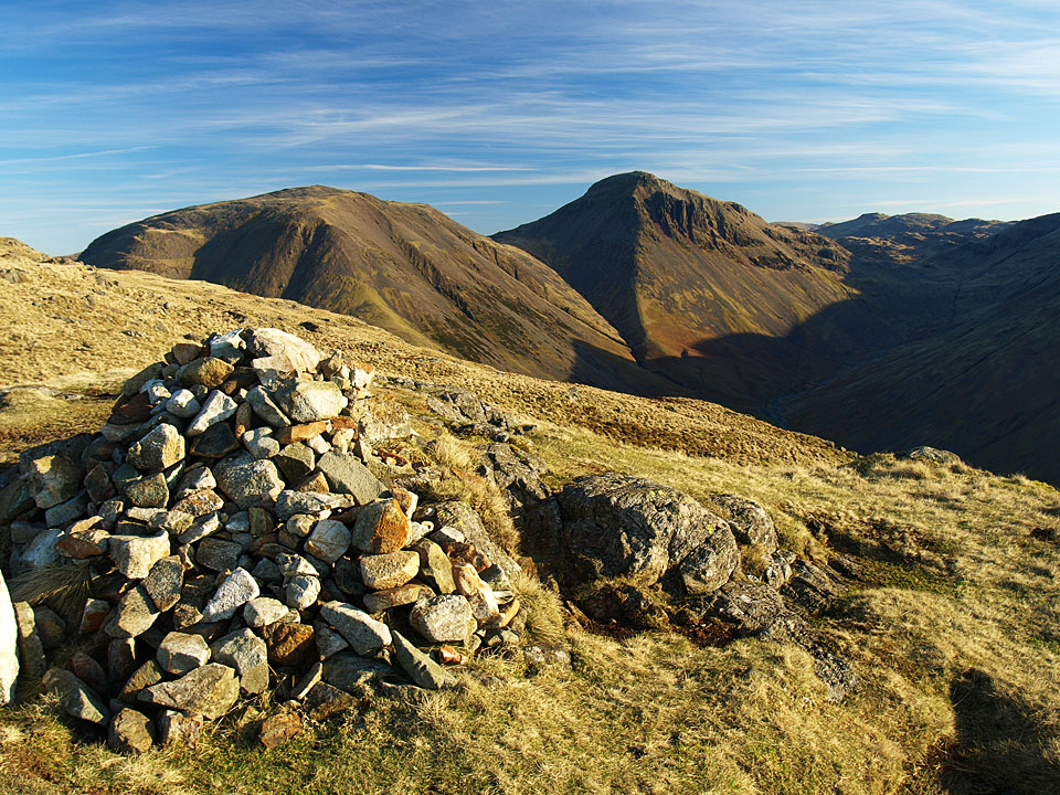 Kirk Fell and Great Gable from the south top and summit of Yewbarrow