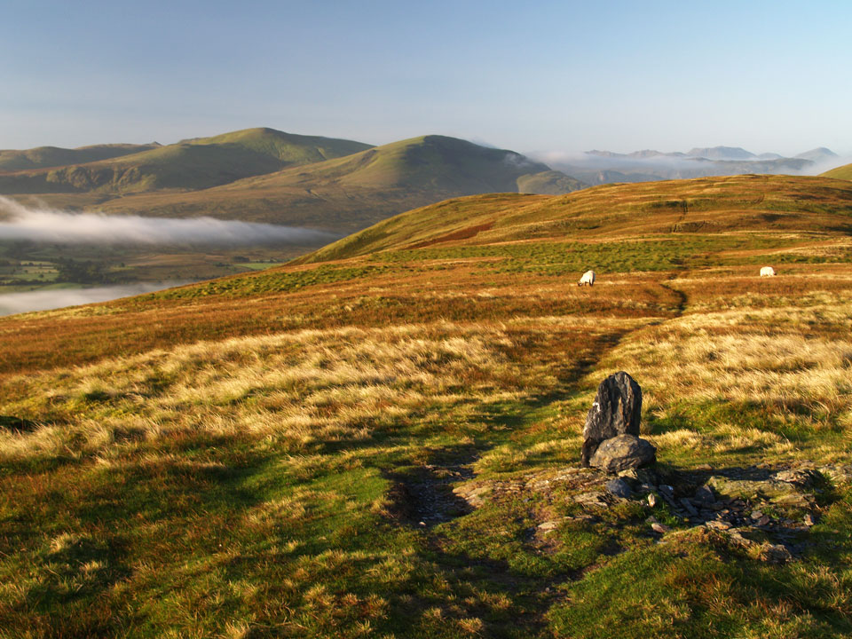 The summit of Souther Fell looking to Clough Head and the Dodds