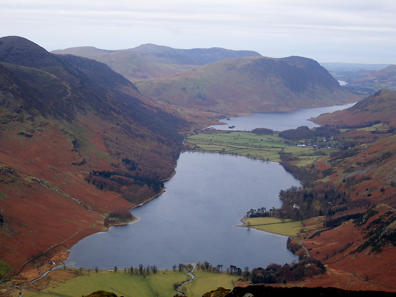 The Buttermere Valley from Fleetwith Pike. The nearest water is Buttermere with Crummock Water behind and a glimpse of Loweswater in the distance.