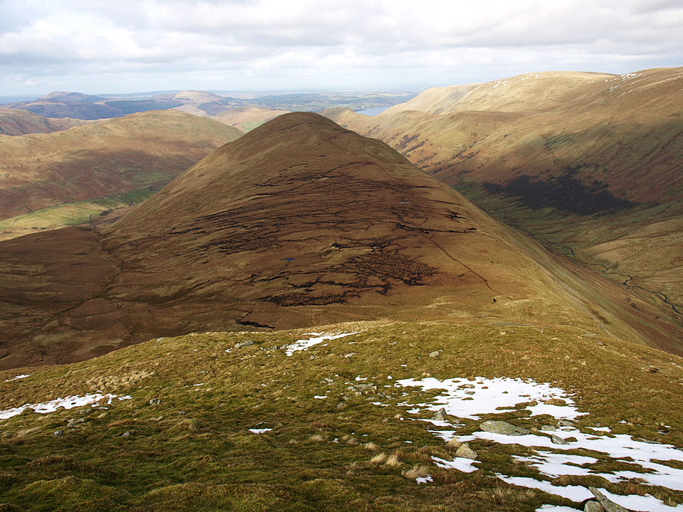 The Nab from the climb to Rest Dodd with the merest glimpse of Ullswater