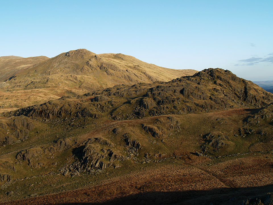 White Pike and White Maiden beyond Pikes from the descent of Caw