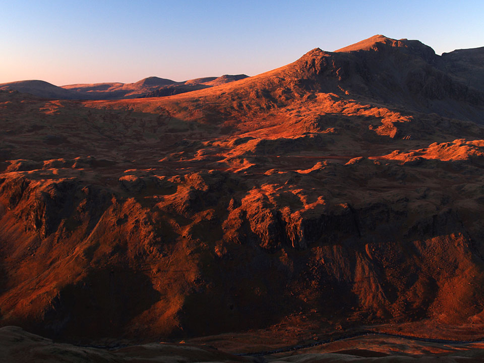 Sunset on Slight Side and Scafell across Eskdale