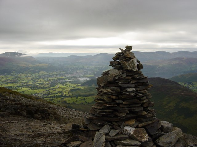 Grisedale Pike summit overlooking Keswick.