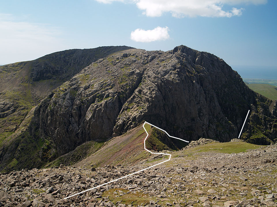 Scafell from Scafell Pike showing the route to Mickledore with Lord's Rake shown to the right
