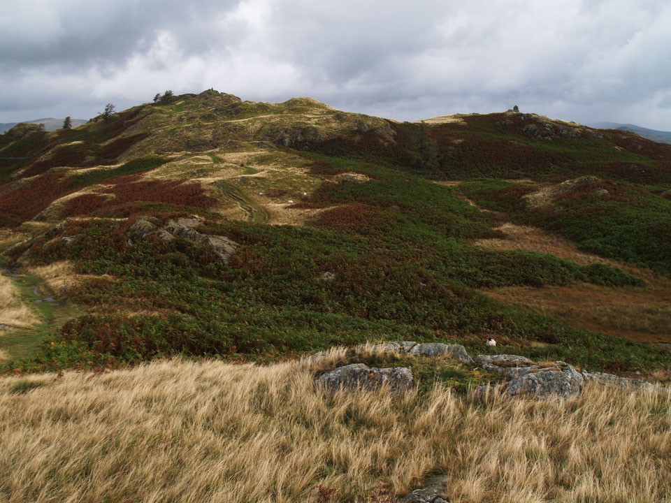 Black Crag, the summit of Black Fell is to the left with the trig column visible