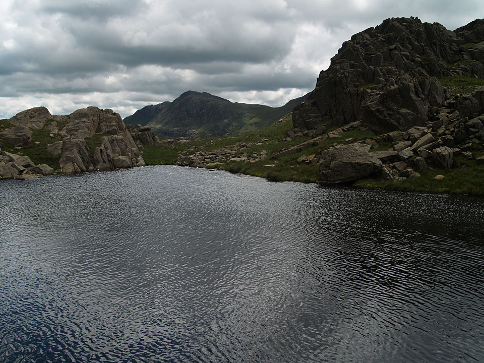 Bow Fell across AW's 'a perfect mountain tarn' on High House
