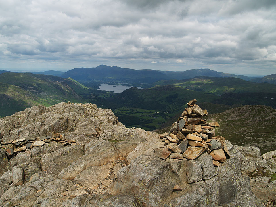 Skiddaw, Blencathra and Derwent Water from the summit of Glaramara