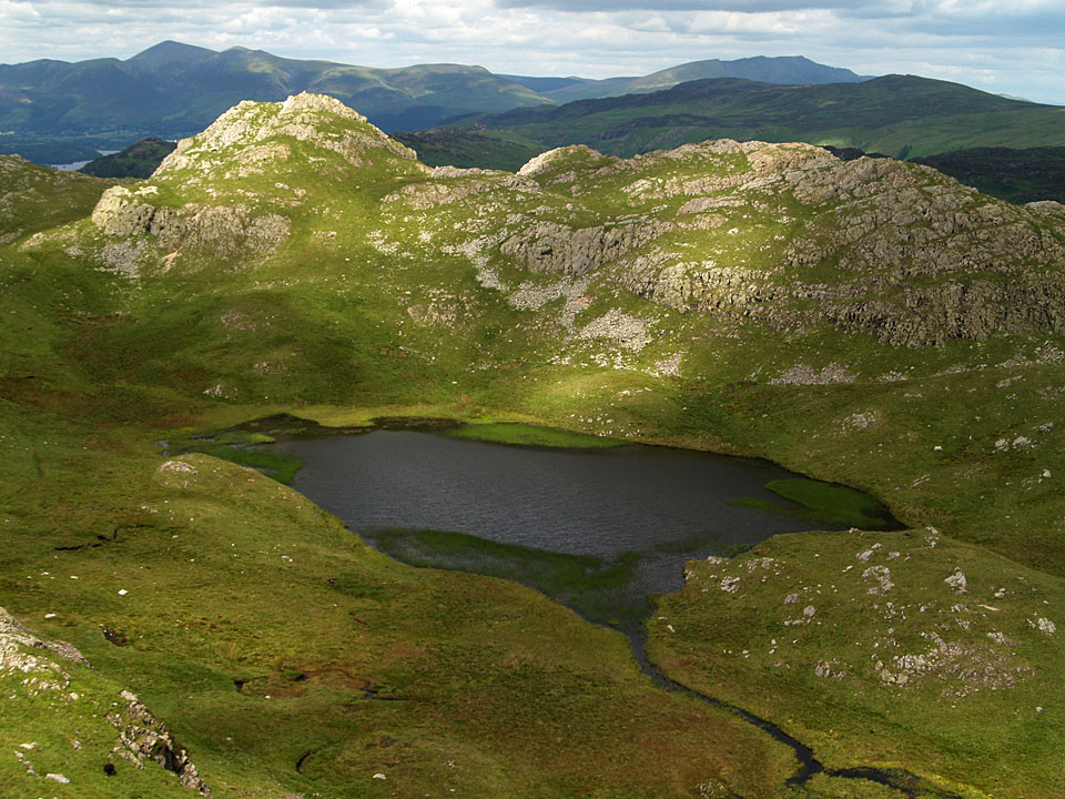 Tarn at Leaves. Bessyboot, the summit of Rosthwaite Fell is beyond the tarn to the left.