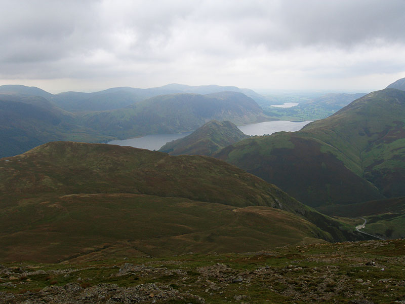 Crummock Water and Rannerdale Knotts with Mellbreak and Loweswater beyond from Robinson's summit