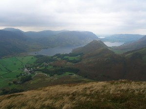 Buttermere village and Crummock Water from High Snockrigg