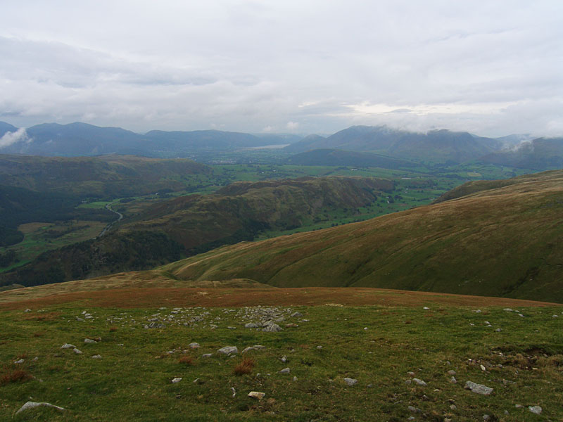 High Rigg and St John's in the Vale from Watson's Dodd. Beyond is Keswick, Bassenthwaite Lake, Dodd and Skiddaw (in mist)