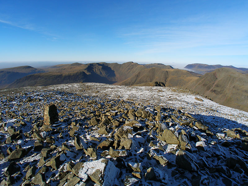 A panoramic view to the north-west from Scafell Pike
