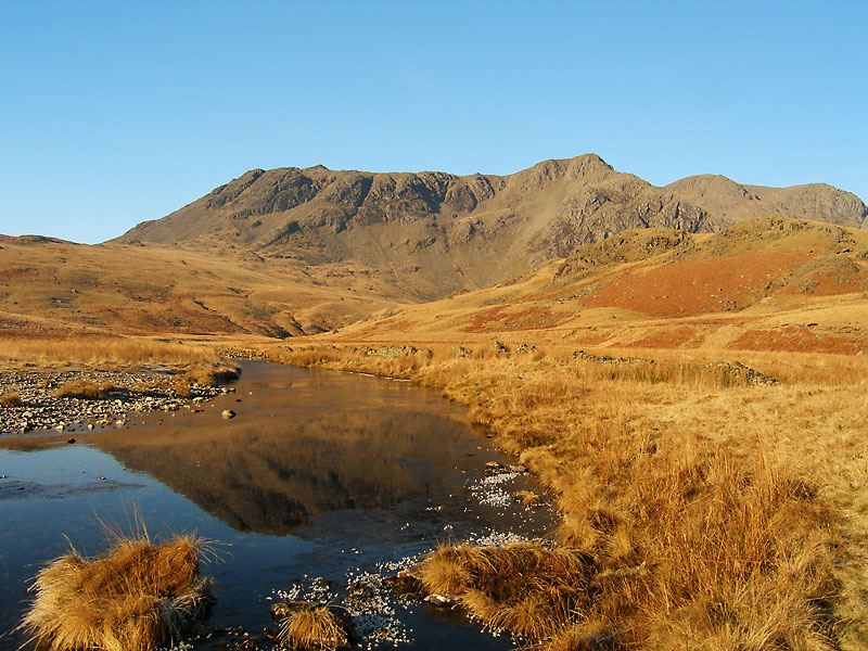 Slight Side and Scafell along a part frozen River Esk