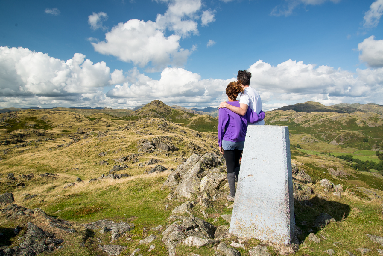 A couple enjoy the view from Great Stickle