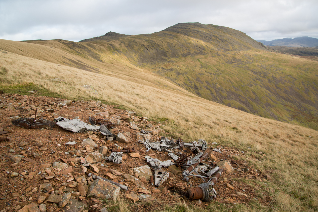 Aeroplane wreckage on Caw Fell
