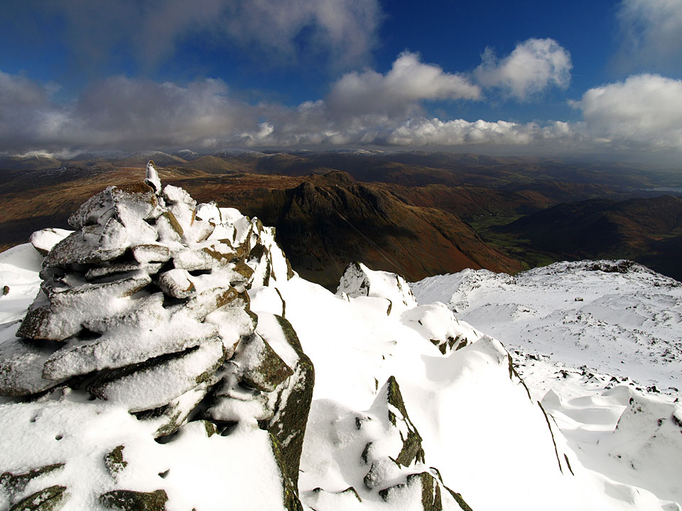 The Langdale Pikes from the summit