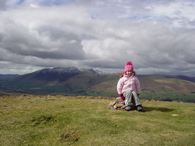 Blencathra from the summit of Great Mell Fell (plus Connie aged 4)