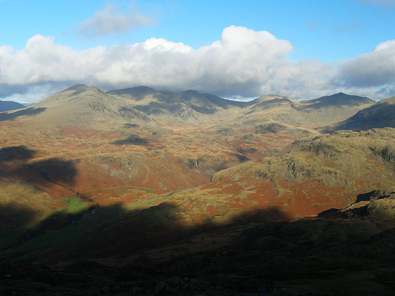 Scafell, Scafell Pike, Esk Pike and Bow Fell from Harter Fell