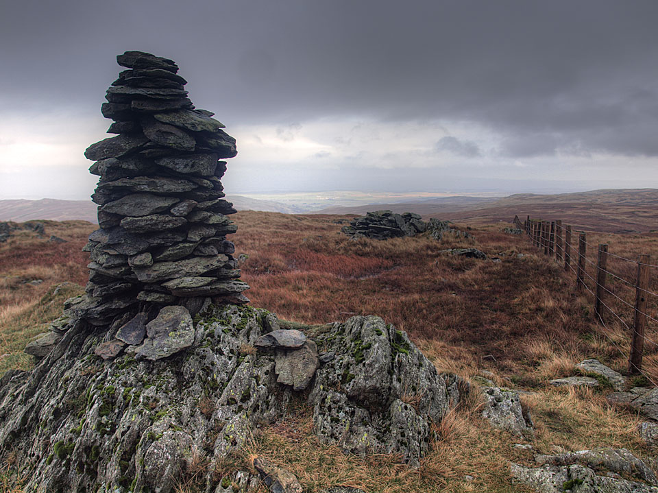The cairn on Harrop Pike