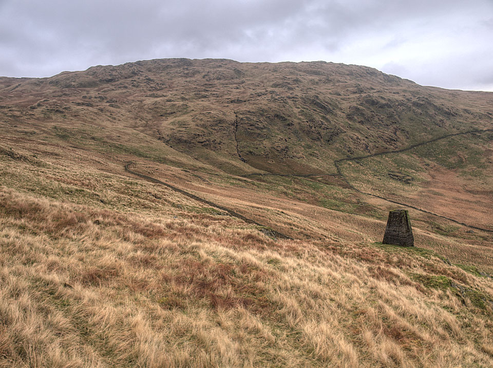 Grey Crag and the survey post on Great Howe