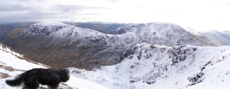 A panoramic shot of Saint Sunday Crag and Fairfield