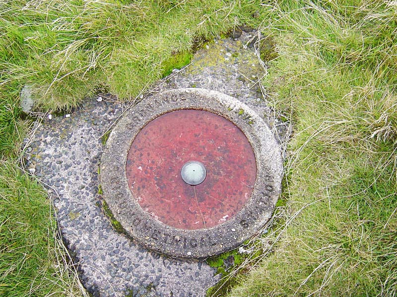 An unusual trigonometrical survey station on Great Yarlside - a circular metal plate sunk into concrete at ground level - a bit different to the normal column type