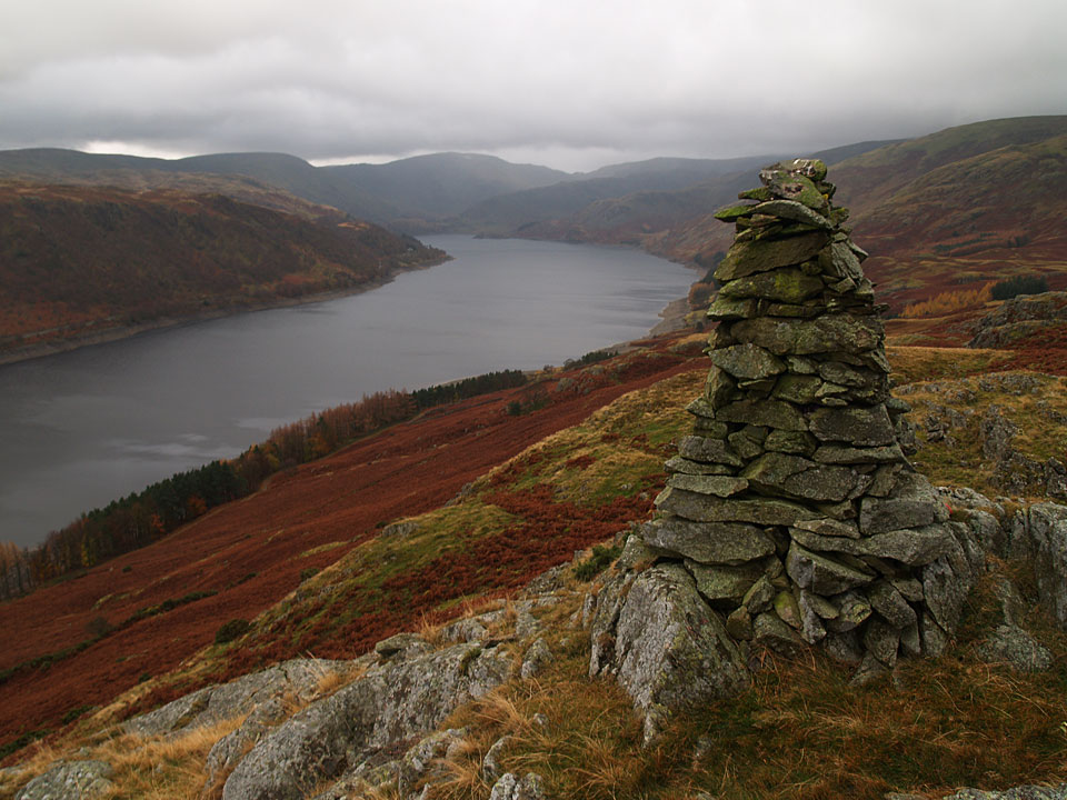 The prominent cairn on Four Stones Hill overlooking Haweswater