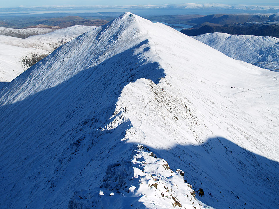 The route of descent - looking along Swirral Edge to Catstycam
