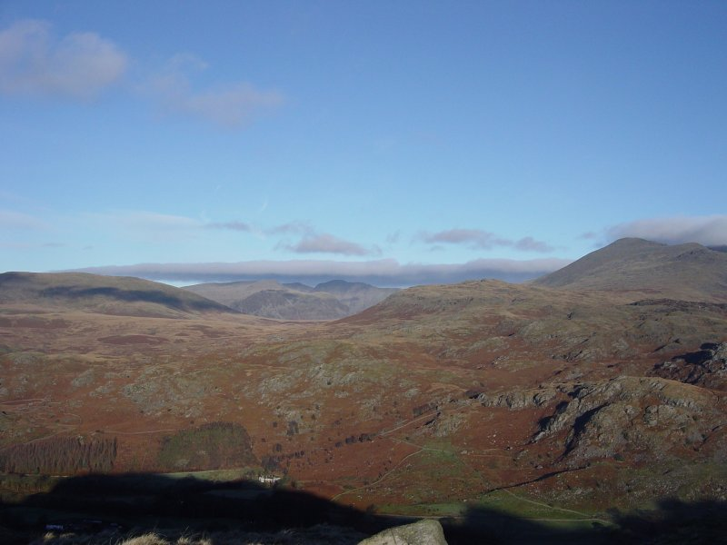 Looking through the gap on Eskdale Fell to Scoat Fell and Pillar from Kepple Crag
