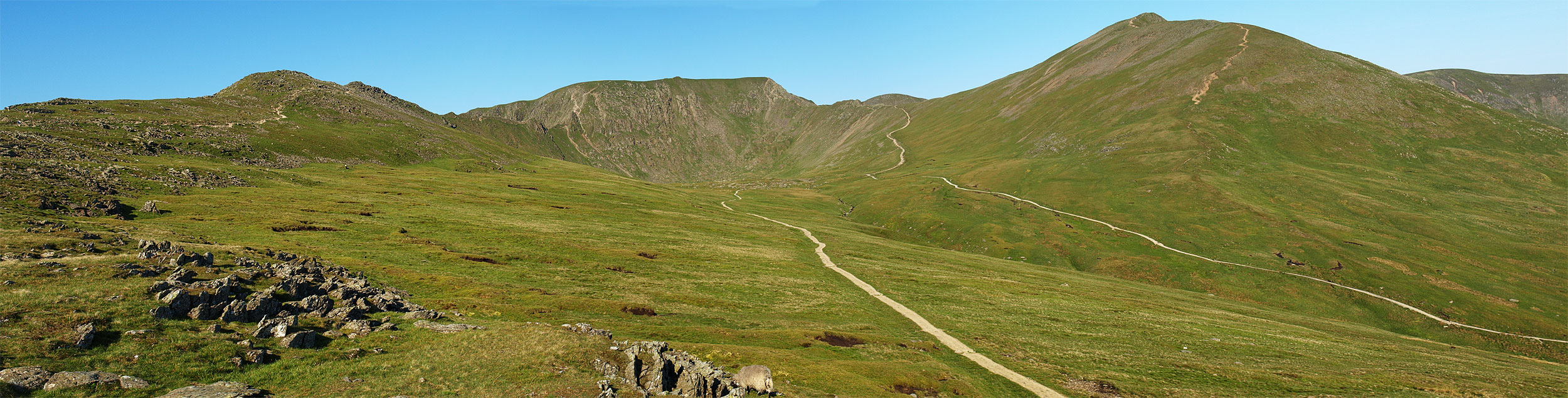 Striding Edge to the left, Helvellyn in the centre, Swirral Edge and Catstycam
