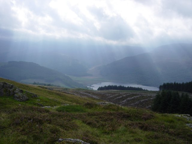 Sun Rays across the head of Ennerdale Water from the summit of Brown How