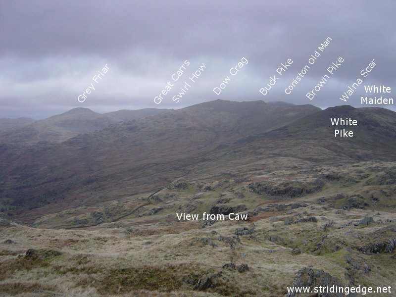 The Coniston Fells from Caw, annotated.