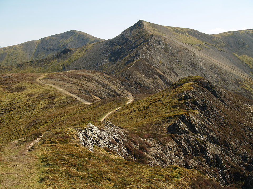 The path to Hopegill Head with Grisedale Pike beyond from the east top of Whiteside.
