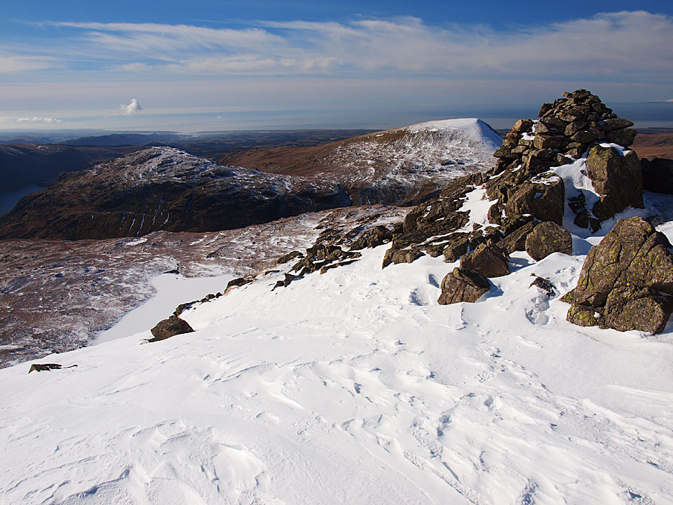 The Chair on Red Pike, Middle Fell and Seatallan in view