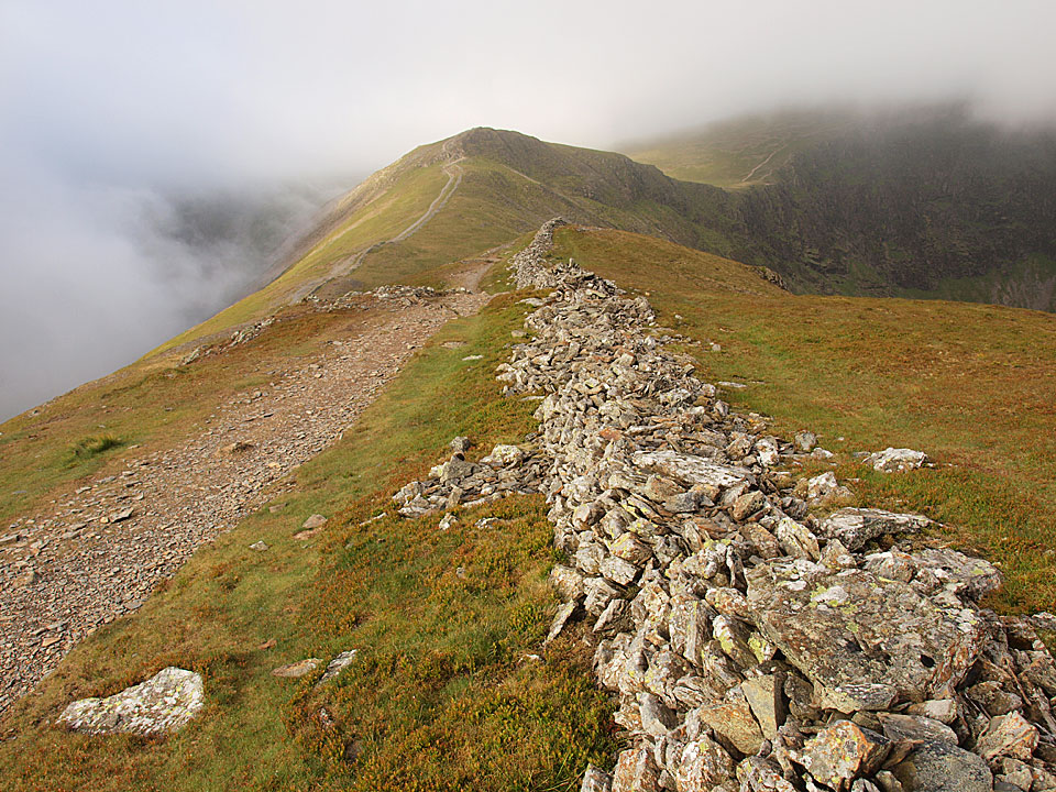 Hobcarton Head with Hopegill Head beyond lost in cloud