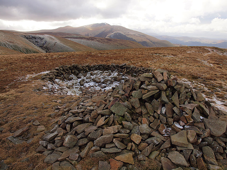 Skiddaw from Little Sca Fell with its sunken wind shelter