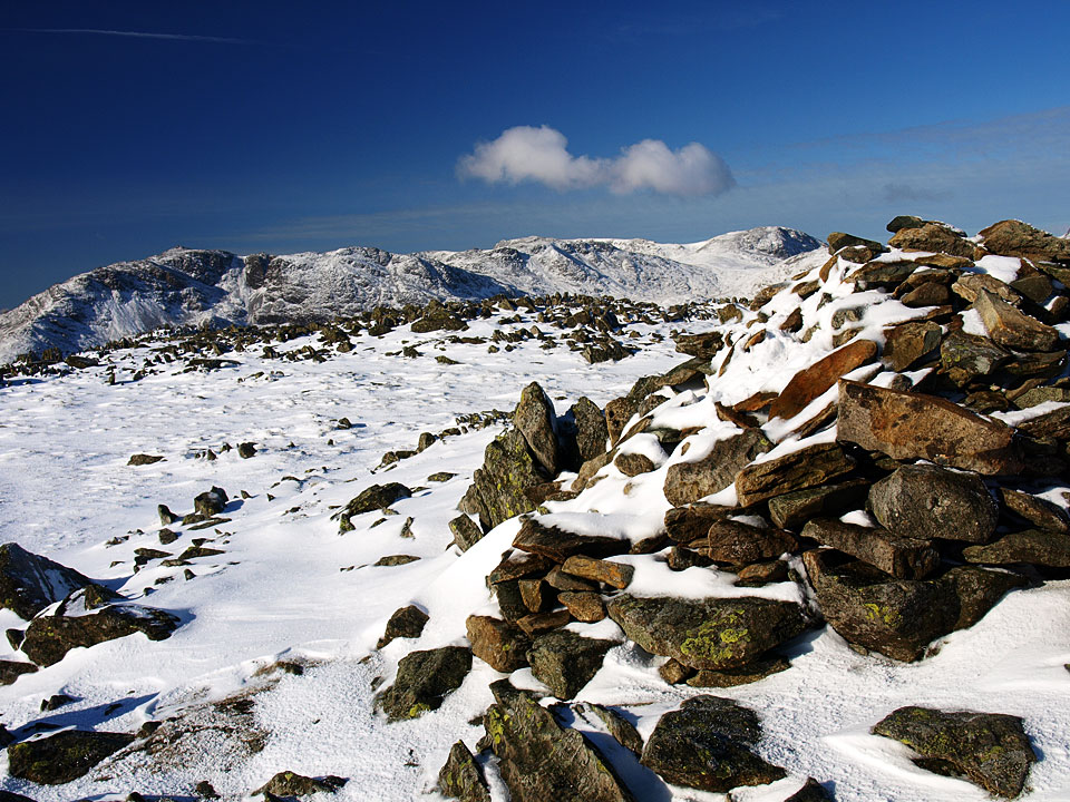 Bowfell from the summit of Thunacar Knott