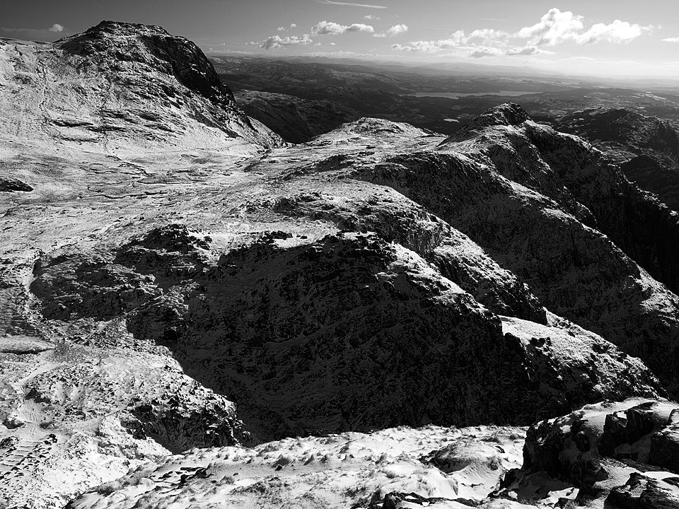 Looking to Loft Crag and Windermere from the descent of Pike o' Stickle