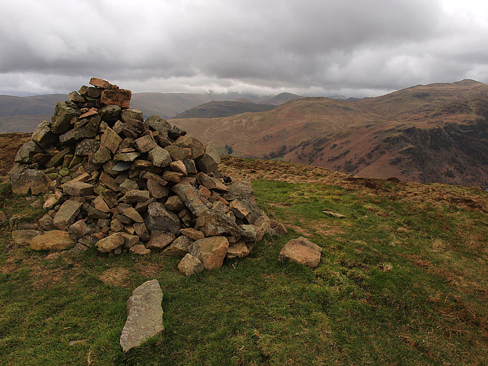 The cairn that marks the summit of Green Hill