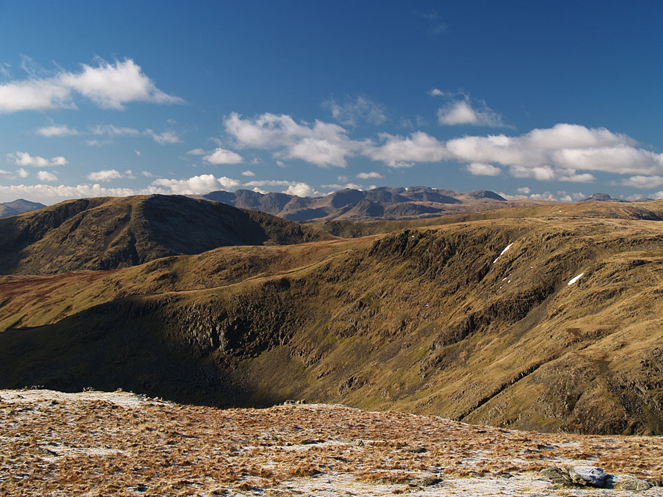 Looking south-west from Thornthwaite Crag with Bow Fell distant centre