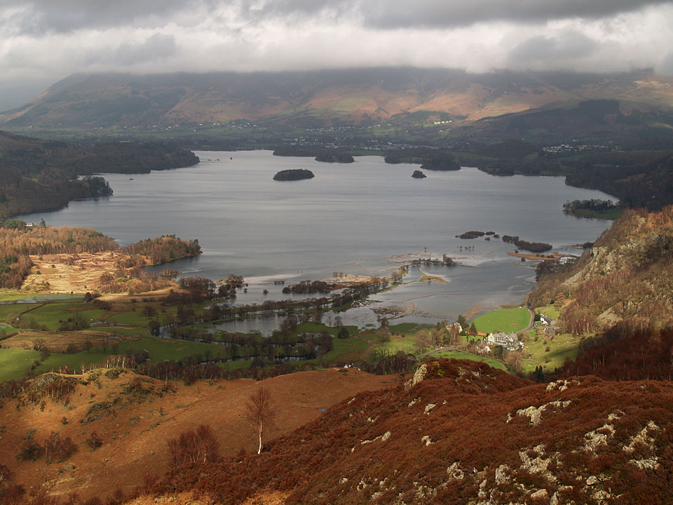 Derwent Water from King's How with Skiddaw covered in cloud