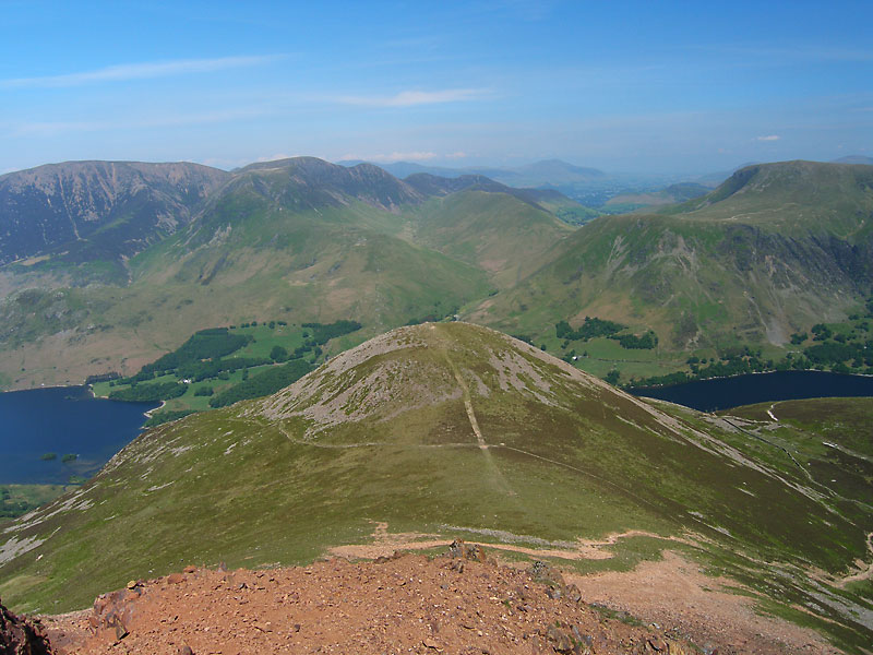 Dodd in the foreground from Red Pike, the north western fells beyond