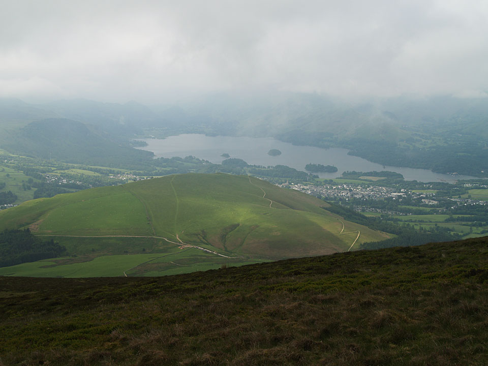 Latrigg and Derwent Water from the steep climb to Lonscale Fell