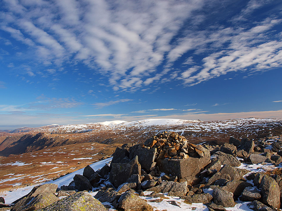 The view to the east from the summit of Rossett Pike